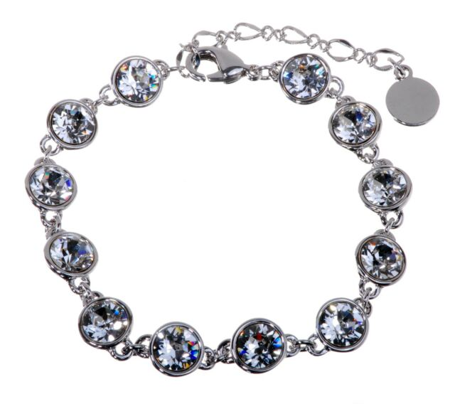 Swarovski Elements Crystal Brilliance Tennis Bracelet Rhodium Authentic 7101y