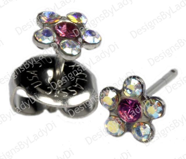 Rainbow Crystal Daisy Flower Silver Studs Ear Piercing Earrings Studex System 75