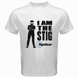 new top gear tv show racing logo i am the stig men 39 s white t shirt size s 3xl ebay. Black Bedroom Furniture Sets. Home Design Ideas
