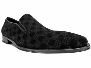0694bd94a56 Image is loading Mezlan-Men-039-s-Checkerboard-Suede-Loafers-Black-