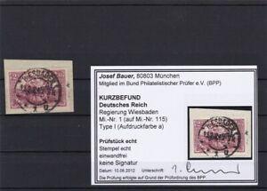Deutsches-Reich-Regierung-Wiesbaden-MiNr-1-Type-I-a-gestempelt-BPP-Befund