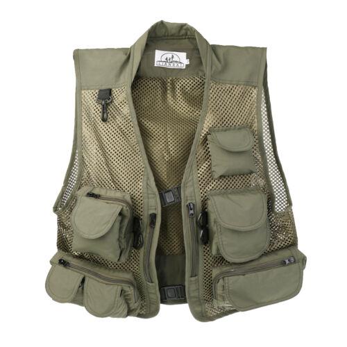 Mens Outdoor Fly Fishing Vest Waistcoat Jacket Waterproof Mesh Vest Army Green