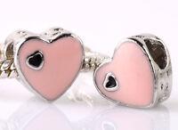 925 Silver 2pcs Charms Bead LAMPWORK Heart Shaped Fit Brand European Bracel A210