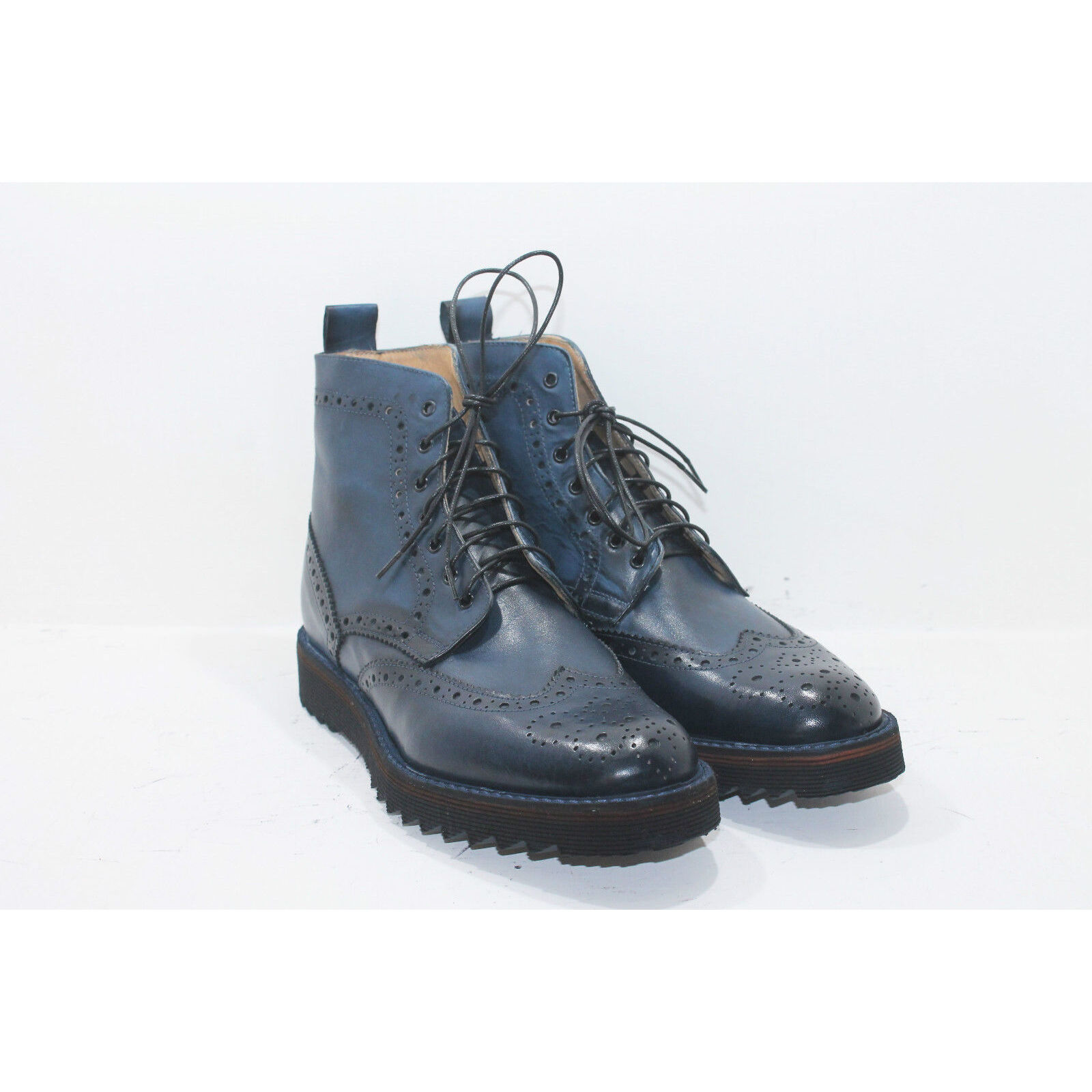 Stivaletto uomo inglese pelle blu scarpe Leather artigianali Made in Italy Leather scarpe boots 81d64a