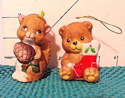 Christmas Bells, Jasco,Bear, Squirrel, Lil Chimer Ornaments, Hand Painted,1980's