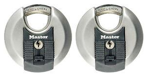 2-x-Master-Lock-Disk-Vorhangschloss-70mm-gleichschliessend-M40EURT