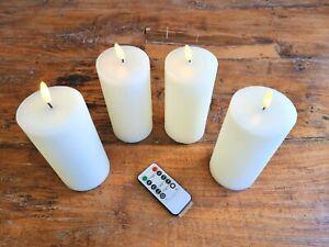 LED Echtwachs Kerzen 4er SET Creme Flackernde Flamme Fernbedienung Timer Advent