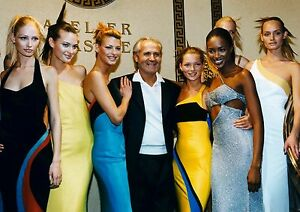 Canvas Gianni Versace with Supermodels Art print POSTER