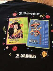 NWOT- California Lotto Scratchers Dia De Los Muertos (2XL) T- Shirt