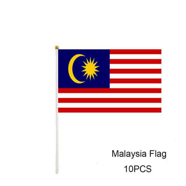 10PCS Small Size Plastic Polyester Malaysia Flag Banner Hand Shaking Flag
