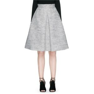 Image is loading ALEXANDER-MCQUEEN-INVERTED-BOX-PLEAT-TWEED-FLARE-SKIRT- ca595081f