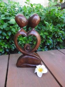 Balinese Abstract Kissing Couple love heart 20cm wood carving