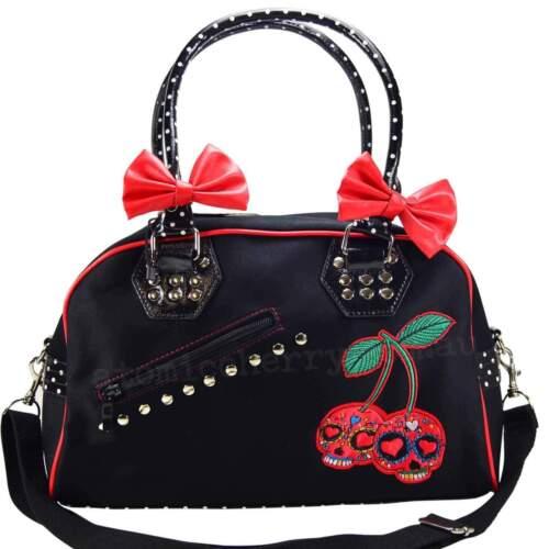 Banned Cherry Skull Handbag Rockabilly Punk Pin Up Goth Alternative Polka Dot