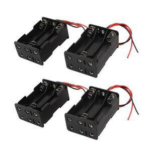 4 Pcs Wired 6 x 1.5V AAA Battery Holder Plastic Case Storage Box Black S8X9