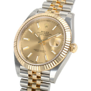 Details about Rolex Datejust 41mm 126333 Two Tone Steel \u0026 Gold Jubilee  Champagne Index Dial