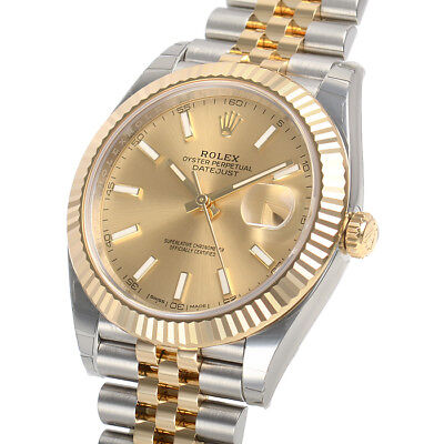 Rolex Datejust 41mm 126333 Two Tone Steel \u0026 Gold Jubilee Champagne Index  Dial 811922030187