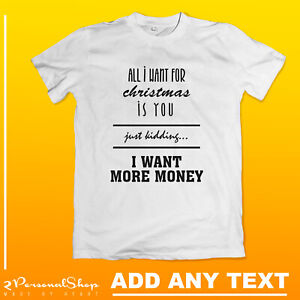 Personalised-Christmas-Funny-T-shirt-Printed-Custom-Text-Women-Men