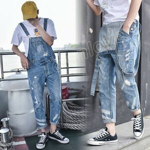 ef6f048c2c Image is loading Men-Slim-Ripped-Hole-Casual-Denim-Overalls-Jumpsuit-