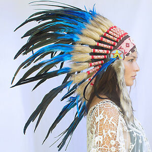 Feather-Headdress-Native-American-Indian-Style-ADJUSTABLE-Dark-Blue-Rooster