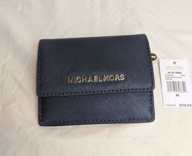 23915fbc705e Michael Kors Leather Jet Set Travel Card Case ID Key Holder in Navy Wallet