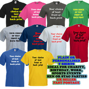 Personalised customised printed t shirt work charity team for Work t shirt printing