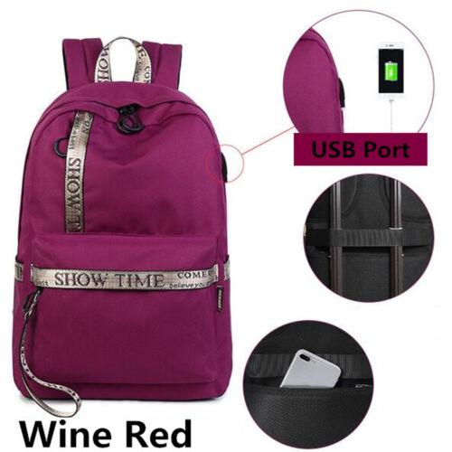 US Men Women Anti-Theft Backpack School Shoulder Bag USB Charger Laptop