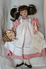 "Pauline Bjonness-Jacobsen Porcelain Doll ""Dawn"" LE Box, COA, Tag, Basket 12"""