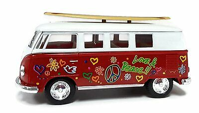 "New 5/"" Kinsmart 1962 VW Volkswagen Classical Bus Diecast Model Toy 1:32 Red"