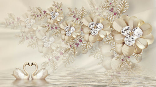 VLIES Fototapete-ABSTRAKT DESIGN- -Optik Ornament Schwäne Blumen Diamanten 2030V