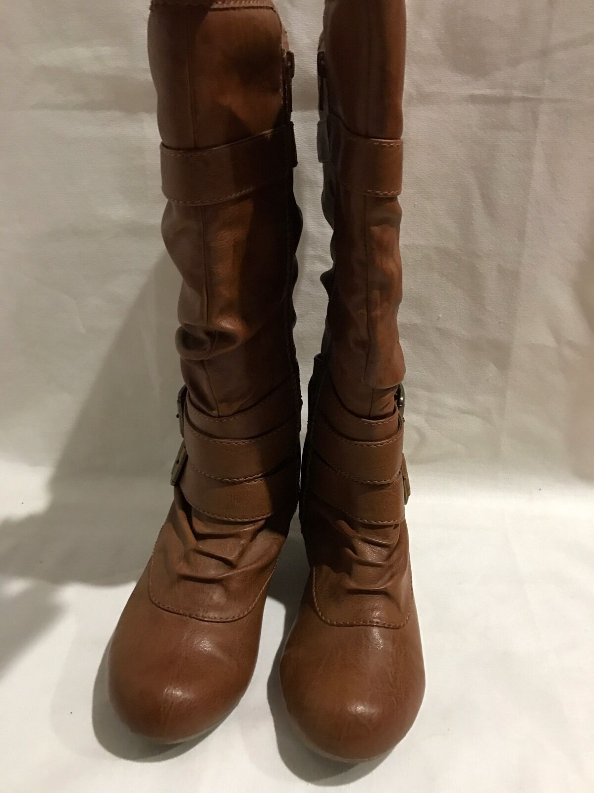 Tan Boots With Buckles Size 7