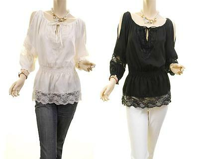 Victorian Renaissance Faux Silk Gothic Lace Trim Cold Shoulder Blouse Shirt Top