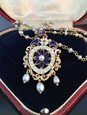 An Exquisite 18ct, 18k, 750 Gold lavalier Pearl & Enamel pendant & Pearl chain