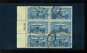 Canal Zone Scott #J23 Postage Due USED Plate Block of 6 Stamps (Stock #CZJ23-1)