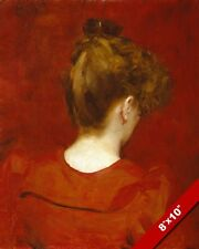 WOMAN IN RED DRESS FEMALE PORTRAIT FROM BEHIND PAINTING ART REAL CANVAS PRINT