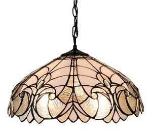 Image Is Loading Tiffany Style Ceiling Lamp Hanging Light Fixture White