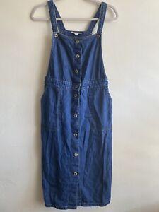 White Stuff | Size 8 | Blue Denim Overall Pinafore Midi Dress