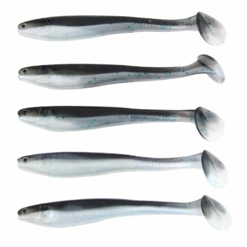 5pcs Soft Fishing Lures 9.5cm 5g T Tail 3d Eyes Paddle Tail Artificial Baits