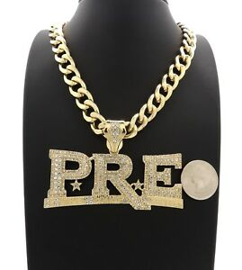 PRE Necklace New Iced Out Pendant With 24 Inch Long Chain