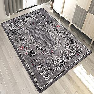 Teppich Grau Weiss Rot Kurzflor Modern Wohnzimmer Flach Teppiche