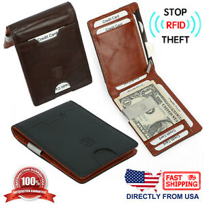 Men-039-s-RFID-Block-Genuine-Top-Grain-Leather-Money-Clip-Slim-Compact-Bifold-Wallet