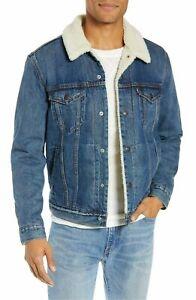 Levis Sherpa Trucker Jacket Mens Sherpa Lined Denim Jacket Stone Blue 0040 Ebay