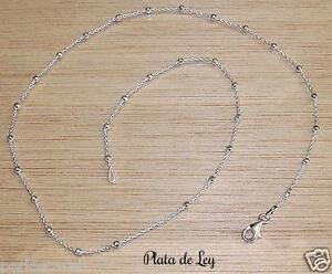 85339e630b29 CADENA de PLATA de ley 925 a 50 cm con bolitas diamantadas. Diseño ...