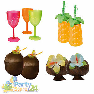 Hawaii Party Becher Trinkbecher Kelch Hibiscus Beach Motto Feier