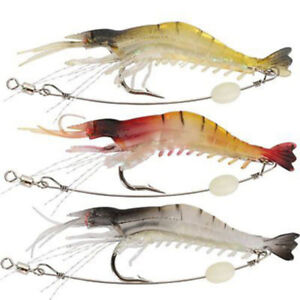 Details about FA- 3 Pcs Lifelike Simulation Shrimp Prawn Fishing Lures  Luminous Bead Hook Bait