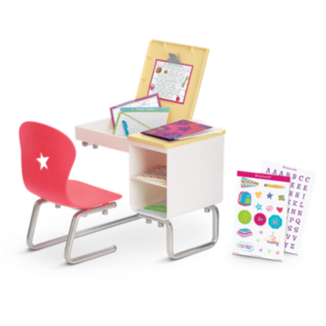 American Girl My Ag Flip Top Desk For 18 Doll Chair Book Furniture School New