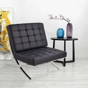 Pu leather pavilion chair barcelona style steel frame for Barcelona chaise lounge