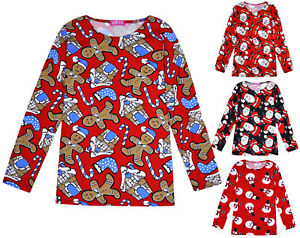 071b987ccdd12 Details about Girls Christmas Tops Kids Long Sleeve Xmas T shirts Ages 3 4  5 6 7 8 9 10 Years