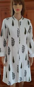 100 Indian Cotton M Size White Cardigan 0xTxwqzFI