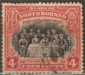 NORTH-BORNEO-1909-PICTORIAL-4c-SULU-SULTAN-amp-STAFF-USED
