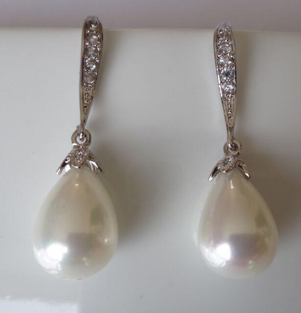 Bridal Wedding Swarovski Elements Drop Pearls Vintage Long Silver Hook Earrings